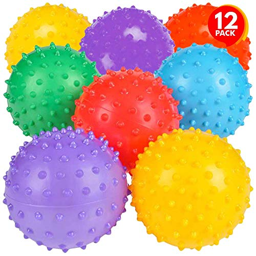 ArtCreativity Inflated Knobby Balls, Pack of 12, Spiky Sensory Bouncing Balls for Autism, ADHD, ADD, Anxiety Relief, Birthday Party Favors, Treasure Box Prizes, 3 Inch Balls for Kids and Adults