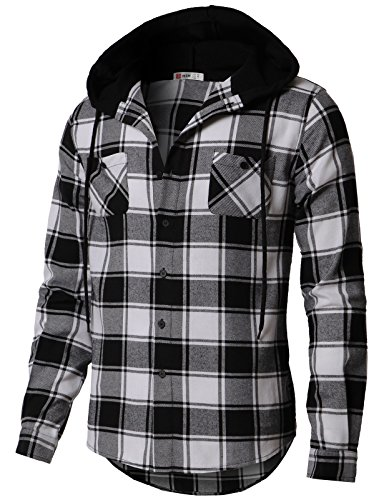 H2H Mens Plaid Attachable Hoodie Flannel Shirt with Hoody Black US 3XL/Asia 4XL (CMOJA0105)