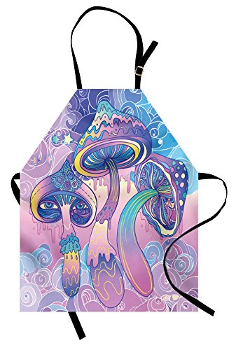 Lunarable Mushroom Apron, Trippy Drawing Hippie Design Sixties Visionary Psychedelic Shamanic, Unisex Kitchen Bib with Adjustable Neck for Cooking Gardening, Adult Size, Pink Purple