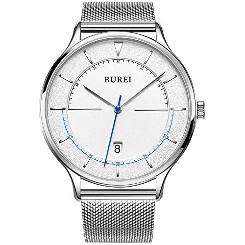 BUREI Men's Watch Analog Date Calendar Japanese Quartz Movement Big Simple Style Stainless Steel Band