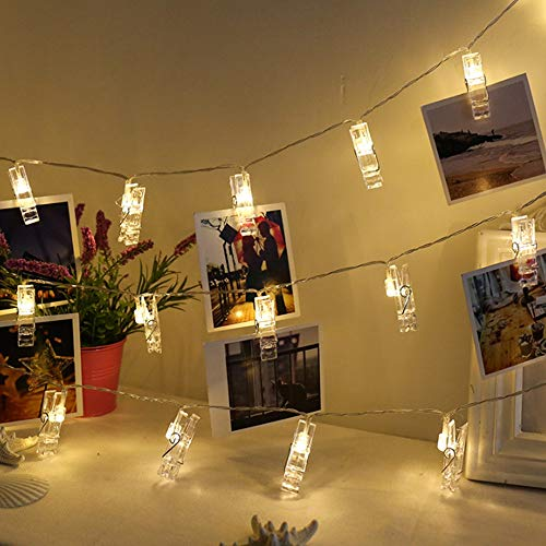 Tibodew 19.69 FT 40 LED Photo Clips String Lights/Holder,Warm White Indoor Fairy String Lights with 40 Clear Clips for Hanging Photos, Pictures,Cards and Memos,Birthday Wedding Party Decoration