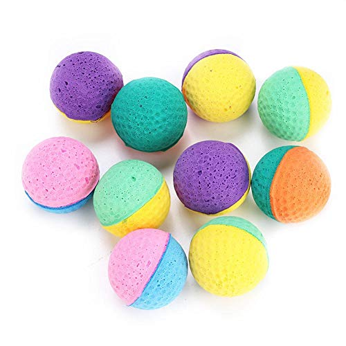 ViaGasaFamido Cat Latex Balls Toys, 10pcs Pet Kitten Colorful Foam Ball Having Fun Exerciser Interactive Chaser Teaser Cat Kitten Play Toy Scratching Playthings for Cats Kitty Pets Novelty Gift