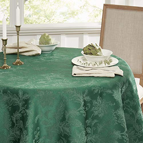 SoHome Christmas Poinsettia Damask Tablecloth, Cotton/Polyester Blend/Stain and Water Resistant/Machine Washable, 70' Round Green