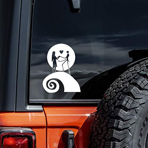 Jack and Sally Nightmare Moon Car Truck Laptop Window Halloween Christmas Decal Sticker | White | 5.5'