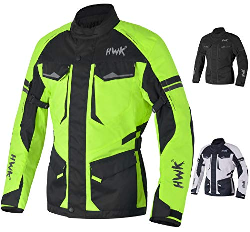 Adventure/Touring Motorcycle Jacket For Men Textile Motorbike CE Armored Waterproof Jackets ADV 4-Season (Hi-Vis Green, XL)