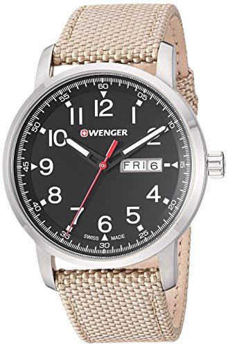 Wenger Men's Attitude Stainless Steel Swiss-Quartz Nylon Strap, Beige, 21.5 Casual Watch (Model: 01.1541.111)