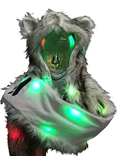 Light Up LED Color Changing Rave Spirit Animal Fluffy Fur Hat Hood (Wolf)