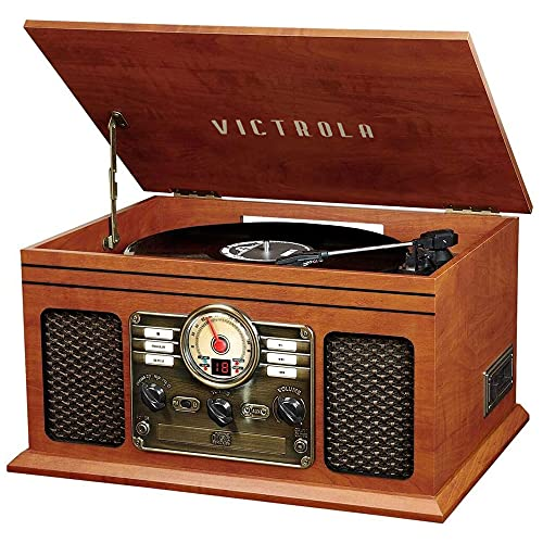 Victrola Nostalgic 6-in-1 Bluetooth Record Player & Multimedia Center with Built-in Speakers - 3-Speed Turntable, CD & Cassette Player, AM/FM Radio | Wireless Music Streaming | Mahogany