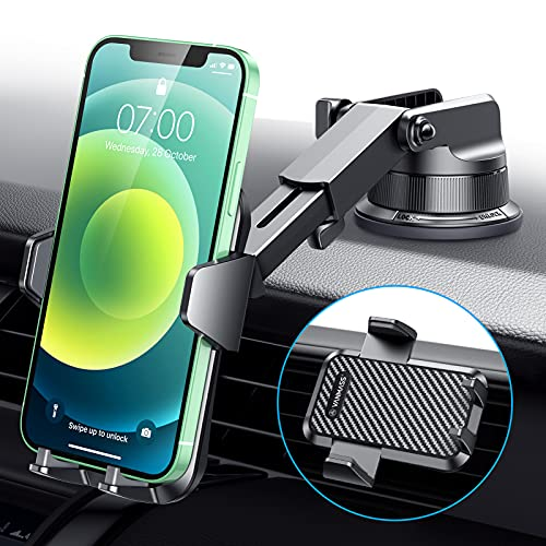 VANMASS Car Phone Mount, [2021 Upgraded Super Power Suction Cup] Phone Holder for Car Dashboard Windshield Vent, Easy Clamp Universal Mount Compatible iPhone 12 11 pro SEXs XR X, Galaxy s21, and More