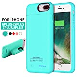 REDGO for iPhone 8 Plus, 7 Plus, 6S Plus Battery Case, 4200mAh Magnetic Ultra Slim External Charger Charging Case for iPhone 8 Plus, 7 Plus, 6 Plus, 6S Plus Battery Backup Pack Power Bank Case, Teal