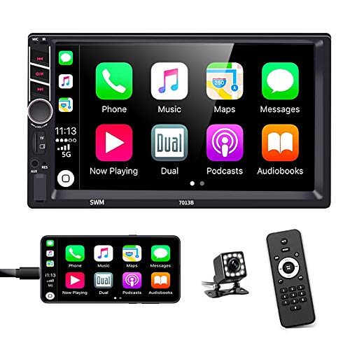 Podofo Double Din Car Stereo in-Dash Car Radio with Bluetooth 7 Inch HD Touchscreen Auto Radio Support D-Play Mirror Link for Android iOS Phone FM/USB/TF/Aux-in/RCA/with Backup Camera+ Remote Control