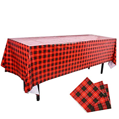 3PCS Plastic Rectangular Tablecloth 54X108Inch Buffalo Plaid with Gold Stamping Waterproof Gingham Checkered Vinyl Table Cover Red Black for Picnic Birthday Parties Barbecue Christmas New Year