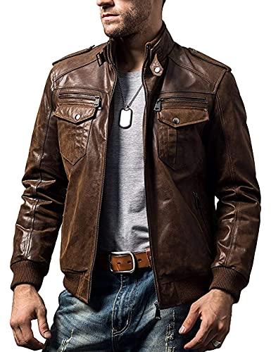 FLAVOR Men Biker retro Brown Leather Motorcycle Jacket Genuine Leather jacket (XXX-Large, Brown)