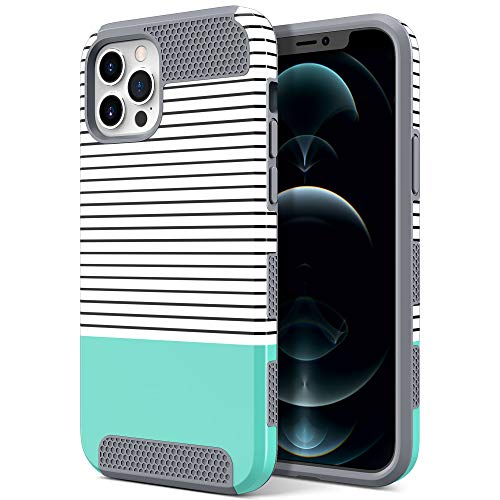 ULAK Designed Case Compatible for iPhone 12 Pro Max, Slim Stylish Protective Girls Women Phone Case Hybrid Shock Absorbent TPU Bumper for iPhone 12 Pro Max 6.7 inch, Mint Stripes