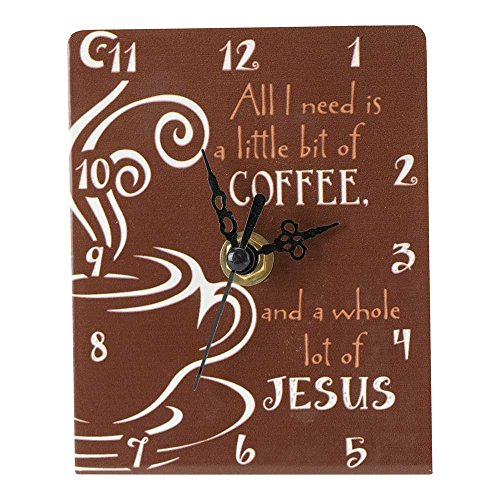 Dicksons Little Bit of Coffee A Lot of Jesus Brown 4.5 x 4 Metal Table Top Clock Sign Plaque