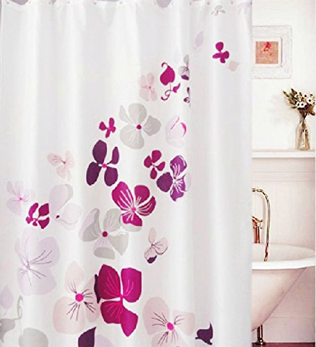 Elleweideco Deep Pink Lily Mildew Proof Polyester Fabric 72x72 Inch Shower Curtain