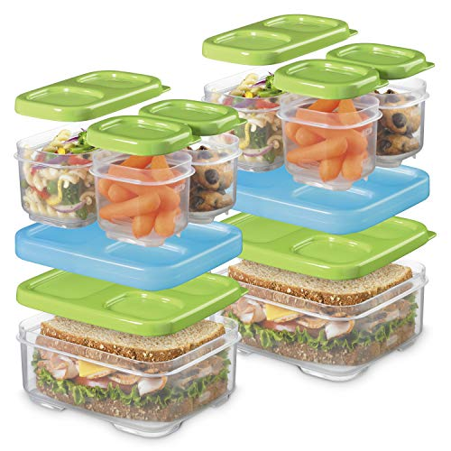 Rubbermaid LunchBlox Sandwich and Meal Prep, 2 Pack Set   Stackable & Microwave Safe Lunch Containers   Assorted Colors, Green