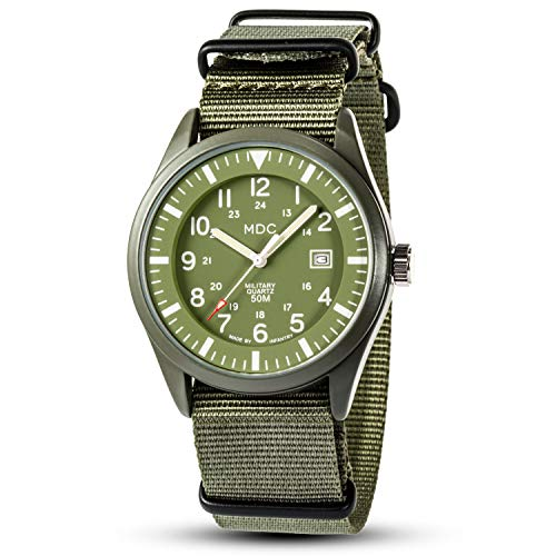 Mens Military Watches for Men Waterproof Wrist Watch Tactical Field Army Green Analog Wristwatch Date with NATO Band by MDC