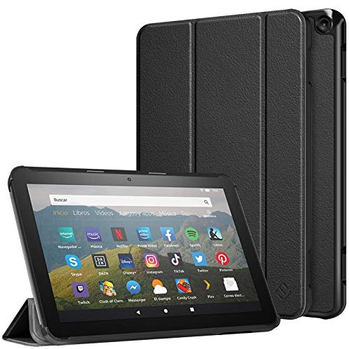 Fintie Slim Case for All-New Kindle Fire HD 8 Tablet and Fire HD 8 Plus Tablet (10th Generation, 2020 Release) - Ultra Lightweight Slim Shell Stand Cover with Auto Wake/Sleep, Black