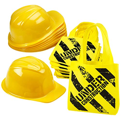 Construction Birthday Party Supplies - (24 Pack) Construction Party Hat & Mini Tote Bag Supplies - (12) Yellow Toy Hats and (12) Under Construction Goodie Bags