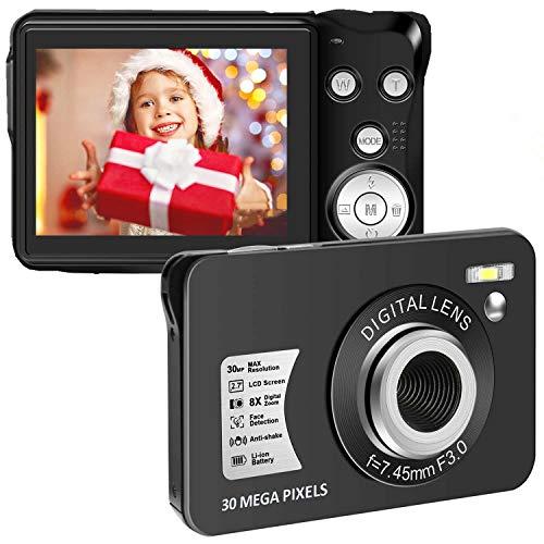 30 MP Digital Camera HD Mini Pocket Camera Cheap Camera 2.7 Inch LCD Screen Camera with 8X Digital Zoom Compact Cameras for Adult, Kids, Beginners