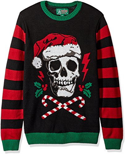 Ugly Christmas Sweater Company Men's Assorted Light-Up Xmas Crew Neck Sweaters with Multi-Colored LED Flashing Lights, Black Santa Skull, L