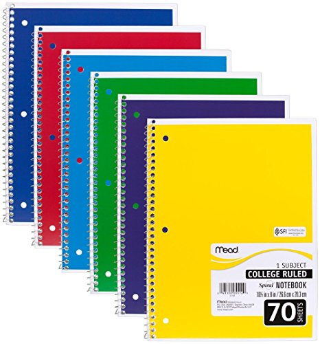 """Mead Spiral Notebooks, 1 Subject, College Ruled Paper, 70 Sheets, Colored Note Books, Lined Paper, Home School Supplies for College Students & K-12, 10 1/2' x 8"""", Assorted Colors, 6 Pack (73065)"""