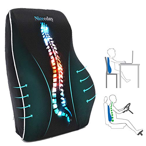 Lumbar Support Pillow for Office Chair Car Lumbar Pillow, Memory Foam Back Cushion with Breathable 3D Mesh Lumbar Support Orthopedic Backrest for Lower Back Pain Relief Ergonomic Orthopedic Backrest