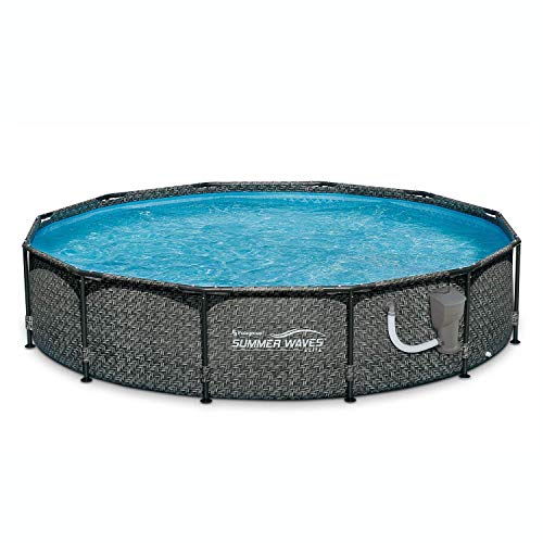 Summer Waves 12ft x 33in Round Above Ground Outdoor Frame Swimming Pool with Filter Pump