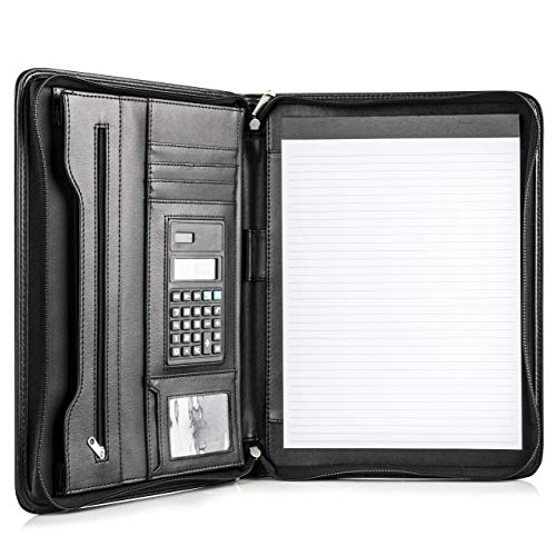 COSSINI Black Superior Vegan Leather Business Portfolio with Zipper – Padfolio All-in-One - Smartest Protective 10.1 Inch Tablet Sleeve, Presentation Slot, Solar Calculator, Card Storage, Writing Pad