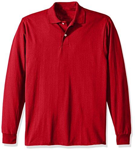 Jerzees Men's Spot Shield Long Sleeve Polo Sport Shirt, True red, X-Large