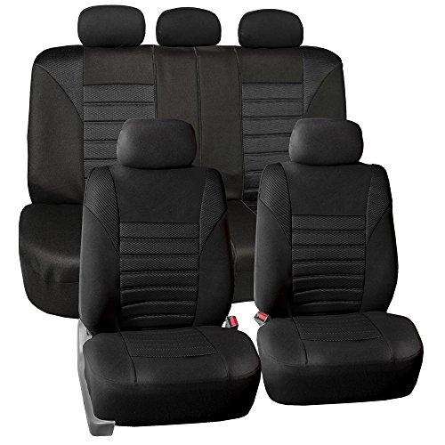 FH Group FB068BLACK115 Black Universal Car Seat Cover (Premium 3D Air mesh Design Airbag and Rear Split Bench Compatible)