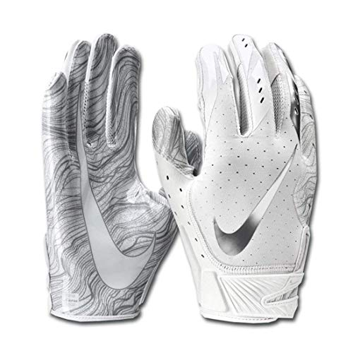 Men's Nike Vapor Jet 5.0 Football Gloves White/Chrome Size X-Large