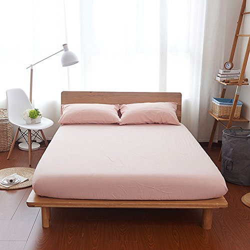 Household 100% Egyptian Cotton Sheet Set Queen Size, Deep Pocket Fitted Sheet, Extremely Durable Fade Resistant Cool and Breathable-4 Piece (Pale Pink, Queen)