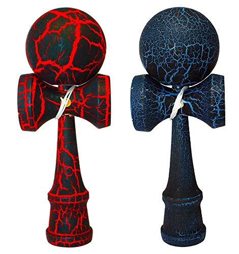 KENDAMA TOY CO. 2 Pack -The Best Kendama for All Kinds of Fun (Full Size) - 2-Pack - Awesome Colors: Red/Black and Blue/Black Crackle -Solid Wood -Create Better Hand & Eye Coordination
