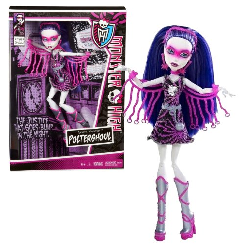 Monster High Mattel Year 2012 Power Ghouls Series 11 Inch Doll Set - Spectra Vondergeist as POLTERGHOUL with Headband, Earrings, Necklace, Shackle Chains and Display Stand