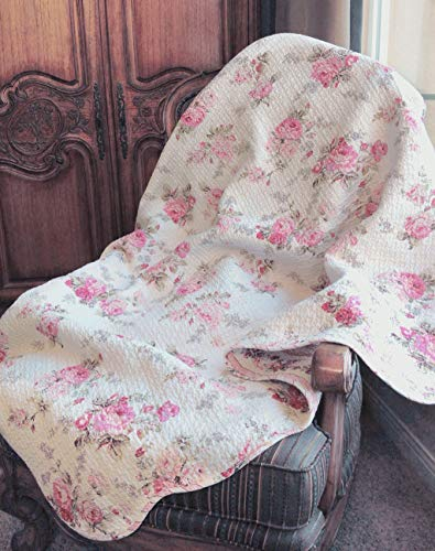 Cozy Line Home Fashions Josephine Spring Peony Pink Ivory Floral Print Pattern Reversible 100% Cotton Quilted Throw Blanket 60' x 50' Machine Washable and Dryable (Peony)