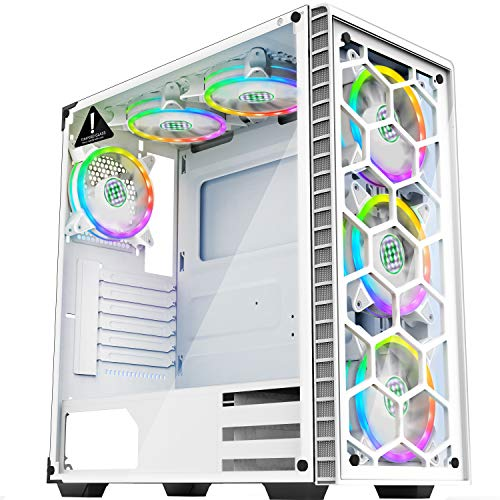 MUSETEX - ATX Mid-Tower PC Gaming Case - 6 PCS 120mm Fans Digital ARGB Lighting - 2 Tempered Glass Panels USB 3.0 - White Frame - Computer Chassis Desktop Case(903S6W)