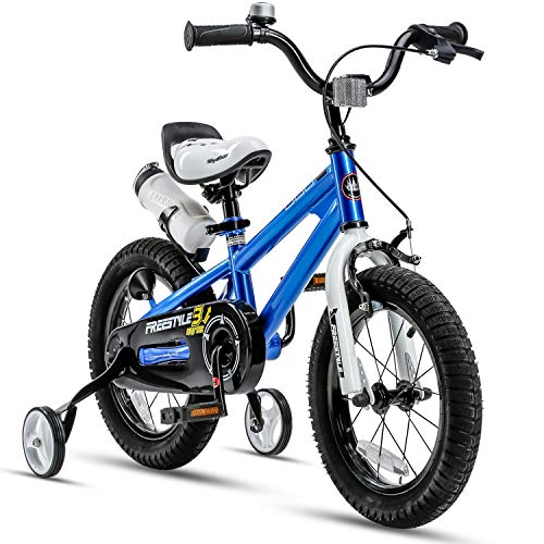 RoyalBaby Kids Bike Boys Girls Freestyle BMX Bicycle with Training Wheels Kickstand Gifts for Children Bikes 16 Inch Blue