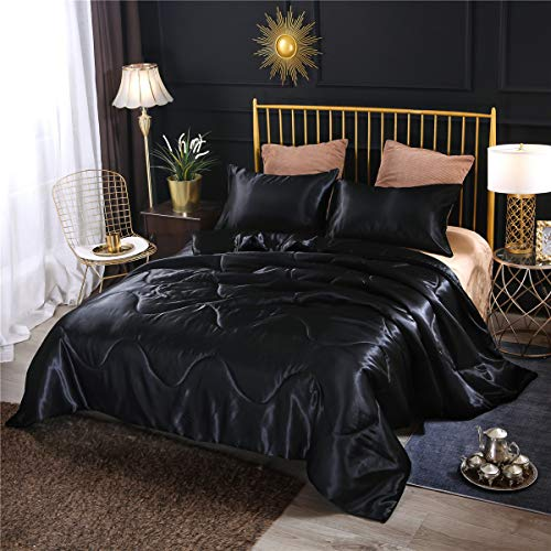 NTBED Luxury Silky Satin Comforter Set Queen Soft Lightweight Microfiber Sexy Quilted Bedding Sets with 2 Matching Pillow Covers (Black, Queen)