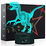Dinosaur 3D Illusion Lamp, Elstey 7 Colors Changing Optical Illusion Touch Table Desk LED Night Light Great Kids Gifts Home Decoration