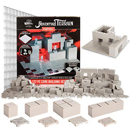 Monster Adventure Terrain - 127pc Unpainted Core Building Set w Baseplate - Fully Modular and Stackable 3-D Tabletop World Builder Compatible with DND Dungeons Dragons, Pathfinder, and All RPG Games