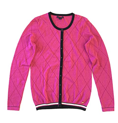Tommy Hilfiger Women's Pointelle Knit Argyle Cardigan Sweater, Fuchsia Red, Size S