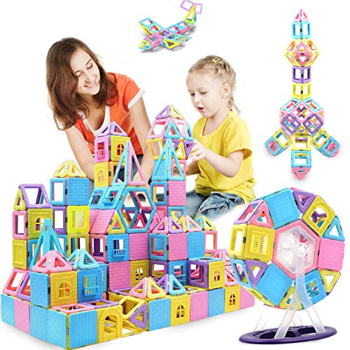 HOMOFY 125PCS Castle Magnetic Building Blocks Tiles for Kids Toddlers-Learning & Early Development Toys for 3 4 5 6 7 Year Old Girls Boys Gifts