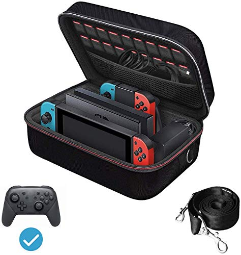 iVoler Carrying Storage Case for Nintendo Switch, Portable Travel All Protective Hard Messenger Bag Soft Lining 18 Games for Switch Console Pro Controller & Accessories Black