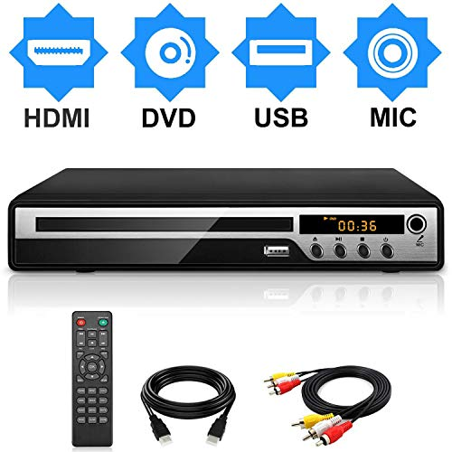 DVD Player for TV, HD DVD/CD Player with HDMI AV Output, Karaoke MIC, and Coaxial Port, USB Input, Built-in PAL NTSC System, All Region Free, HD1080P DVD CD Player, HDMI/ AV Cable Included