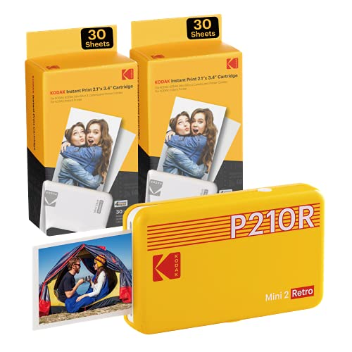 "Kodak Mini 2 Retro 2.1x3.4"" Portable Photo Printer (60 Sheets), Wireless Connection, Compatible with iOS, Android & Bluetooth, Real Photo, 4PASS & Lamination Process, Premium Quality – Yellow"