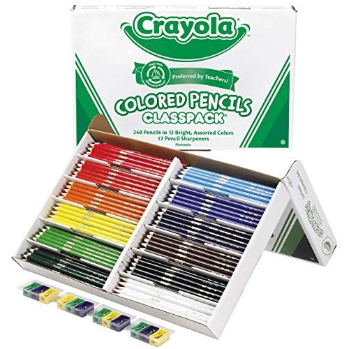 Crayola Colored Pencils, Bulk Classpack, Classroom Supplies, 12 Assorted Colors, 240 Count, Standard