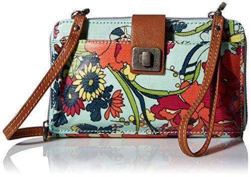 Sakroots Artist Circle Large Smartphone Cross-Body Phone Wallet Bag, Seafoam Flower Power