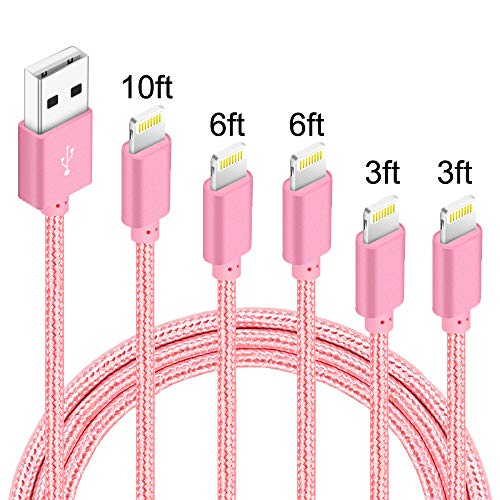 5Pack(3ft 3ft 6ft 6ft 10ft) iPhone Lightning Cable Apple Certified Braided Nylon Fast Charger Cable Compatible iPhone Max XS XR 8 Plus 7 Plus 6s 5s 5c Air iPad Mini iPod (Rose)